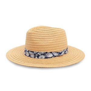 NWT Paisley Trim Straw Hat